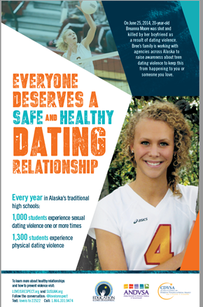 Poster saying everyone deserves a safe and healthy dating relationship