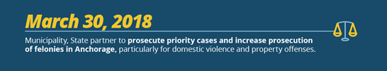 March 30, 2018 Municipality, State partner to prosecute priority cases and increase prosecution of felonies in Anchorage, particularly for domestic violence and property offenses